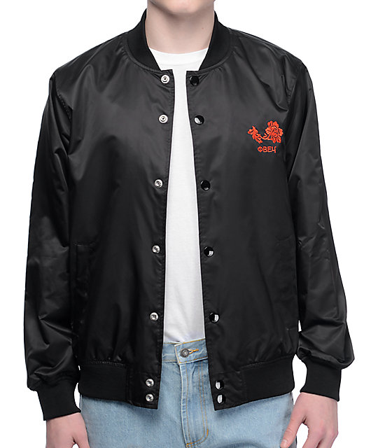 Obey Viktor Black Satin Bomber Jacket at Zumiez : PDP