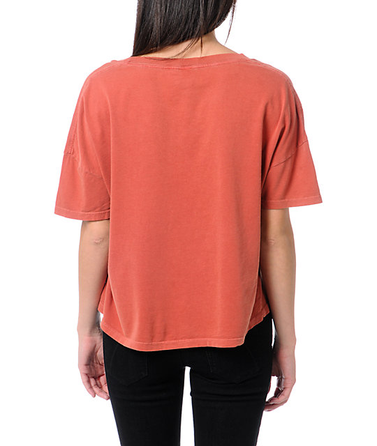 Obey Wasted Youth Rust Orange Vintage Crop T-Shirt