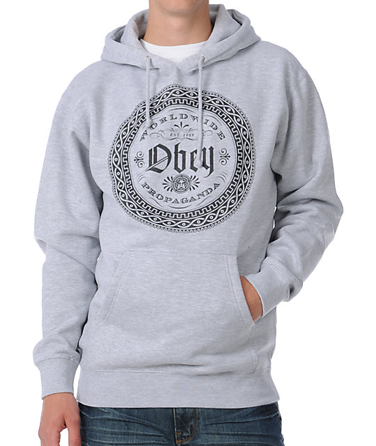 Obey Watchface Heather Grey Pullover Hoodie