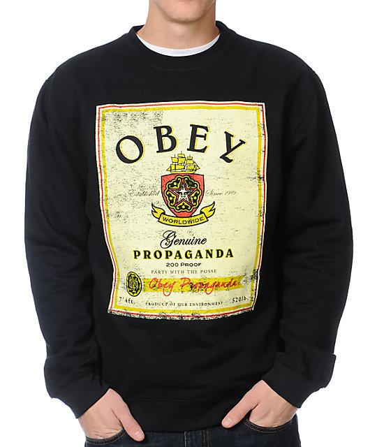 Obey Whiskey Posse Flyer Black Crew Neck Sweatshirt