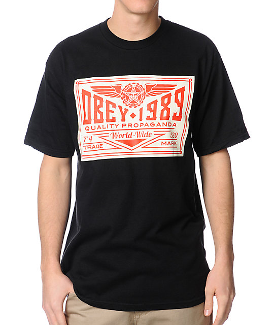 Obey Wings Trademark Black T-Shirt