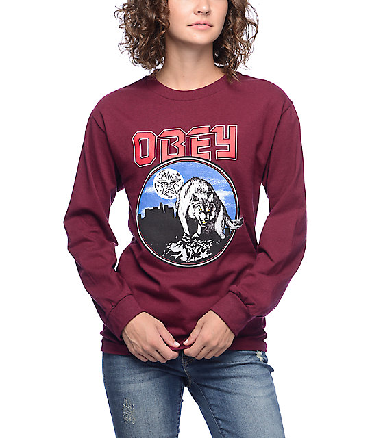 Wolfen Burgundy Long Sleeve T-Shirt