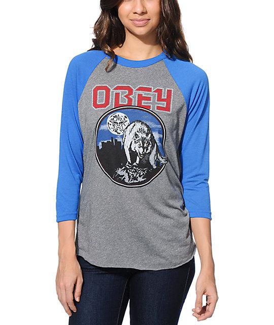 Obey Wolfen Grey & Blue Vintage Baseball Tee