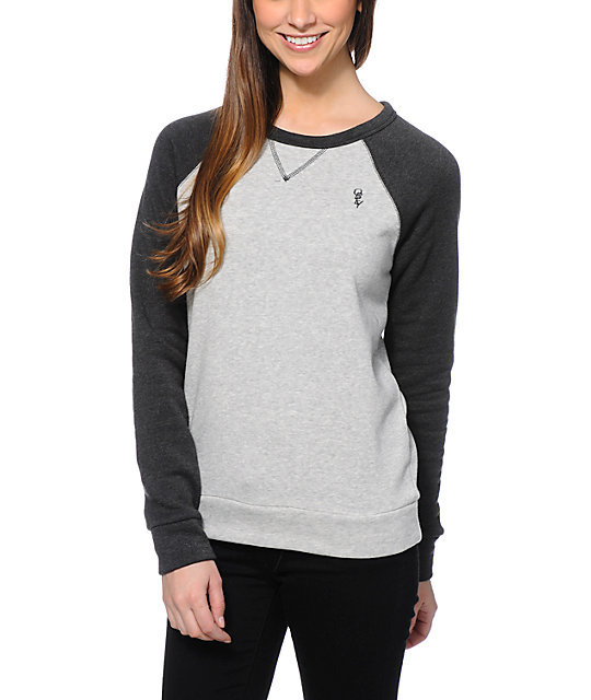 Obey Womens Lofty Mountain Grey & Graphite Crew Neck Sweatshirt at ...