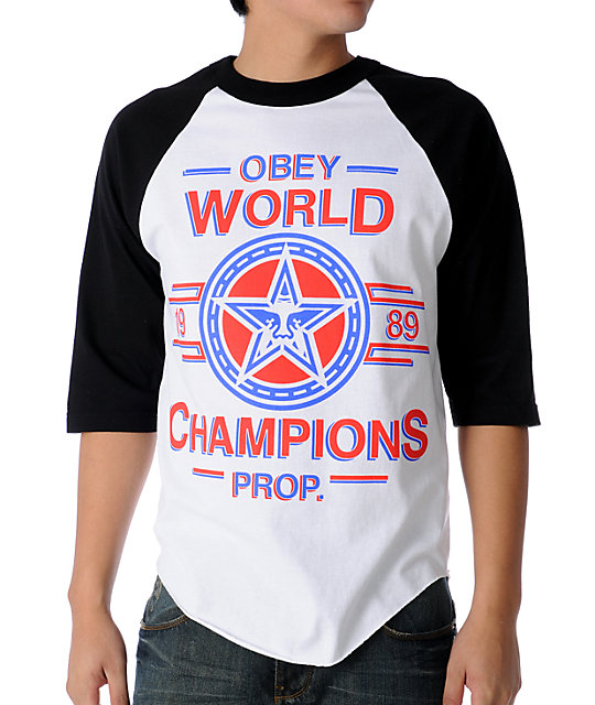 Obey World Champs White Baseball T-Shirt
