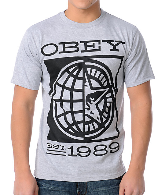 Obey World Of Obey Heather Grey T-Shirt