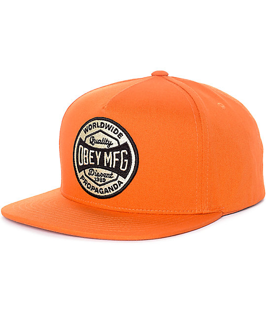 Obey Worldwide Dissent Orange Snapback Hat