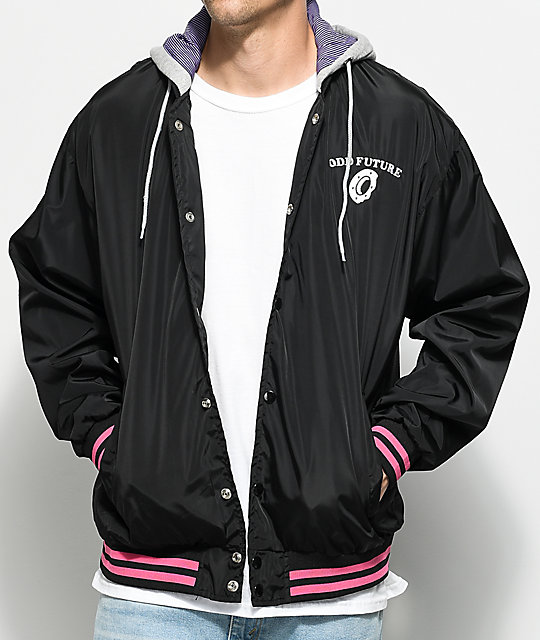 Odd Future Black Hooded Varsity Jacket | Zumiez