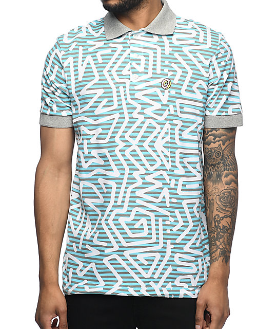 Odd Future Embroidered Donut Aztec Grey & Blue Polo Shirt