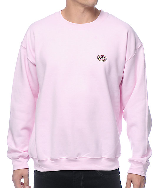 Future Eternity Rings Embroidered Pink Crew Neck Sweatshirt