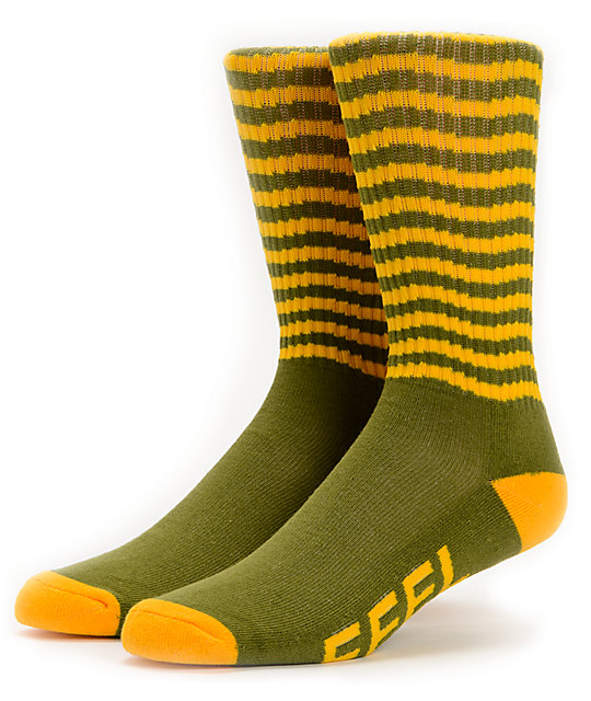 Odd Future Feel Good Green & Yellow Crew Socks