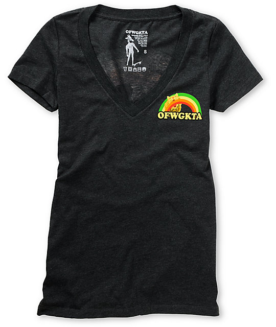 Odd Future Rainbow Cat Charcoal V-Neck T-Shirt