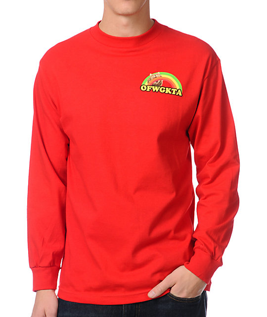 Odd Future Rainbow Cat Red Long Sleeve T-Shirt