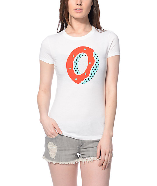 Odd Future Red & Blue Donut White T-Shirt