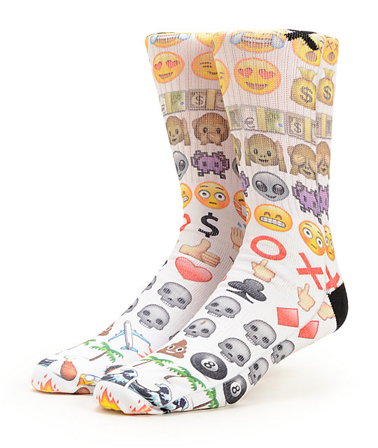 Custom designed Emoji basketball and symbols socks with reinforced toe and heel for extra comfort and support. Every sock is custom made and may have slight variations.