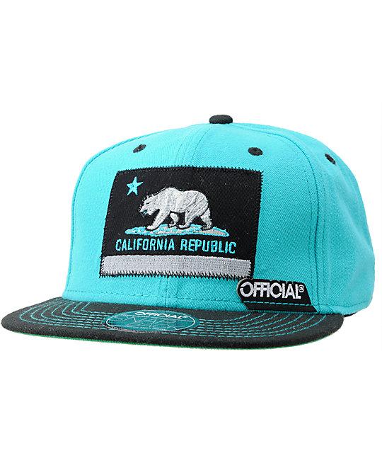 Official Cali Teal & Black Snapback Hat