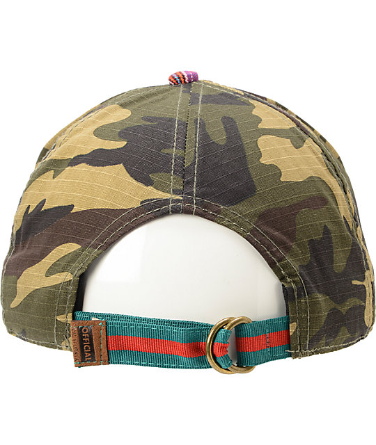 Official Dolo Back Cuts Camo & Red Native Print Strapback Hat