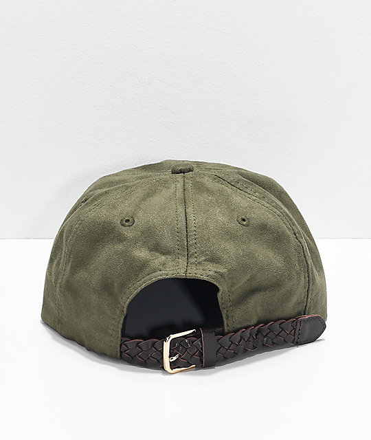 Official JR Pitch Olive Suede Strapback Hat