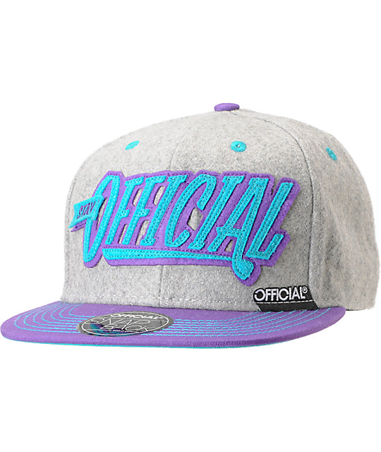 Official Stay Official Mint, Grey & Purple Snapback Hat