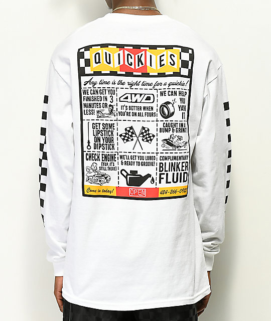 Open925 Quickie's Pit Stop White Long Sleeve T Shirt by Open925