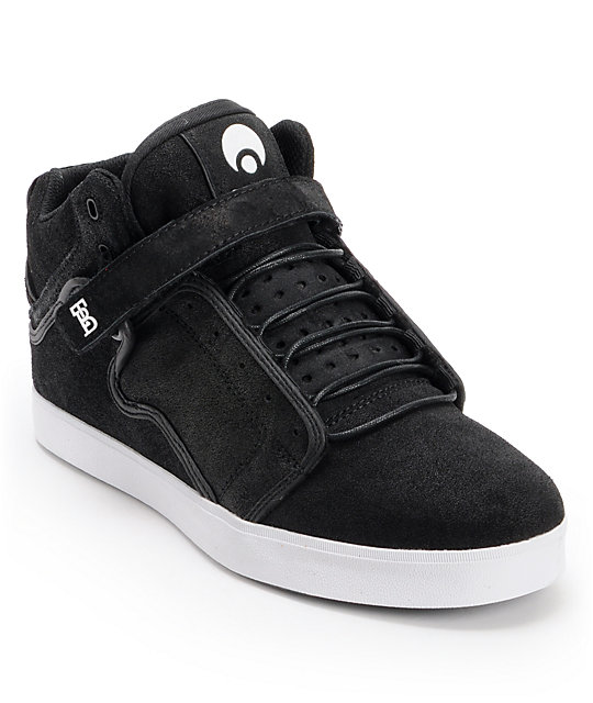 Osiris Bingaman Mid Black & White Skate Shoes