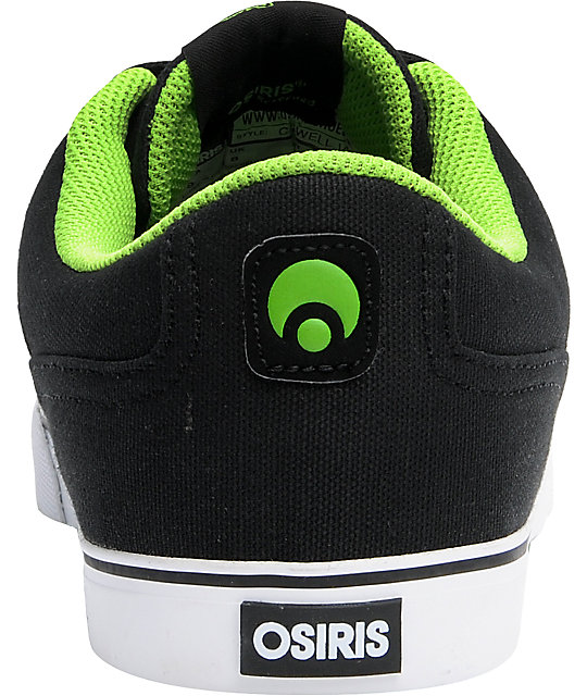 Osiris Caswell VLC Black, Lime, & White Shoes