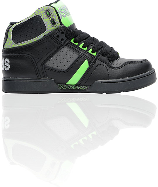 Osiris Kids NYC 83 Black, Charcoal & Lime Green Skate Shoes