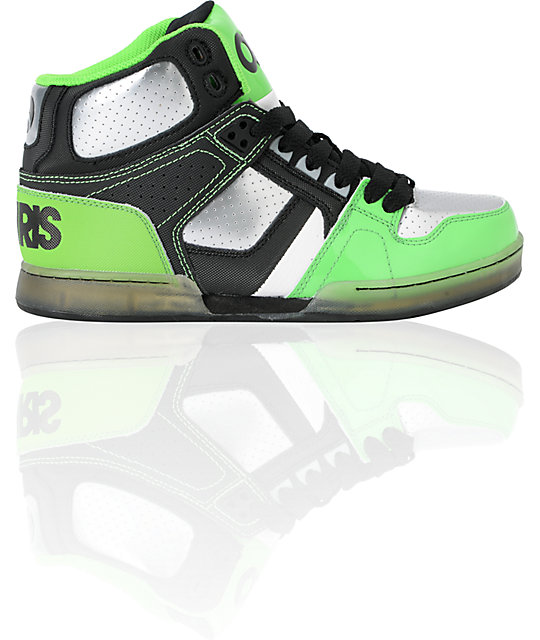 Osiris Kids NYC 83 Black, Gunmetal & Neon Lime Skate Shoes