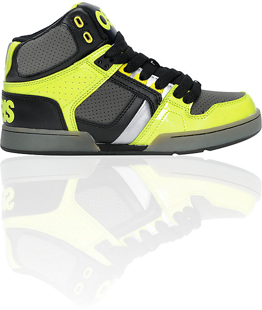 Osiris Kids NYC 83 Black, Lime & Charcoal Skate Shoes