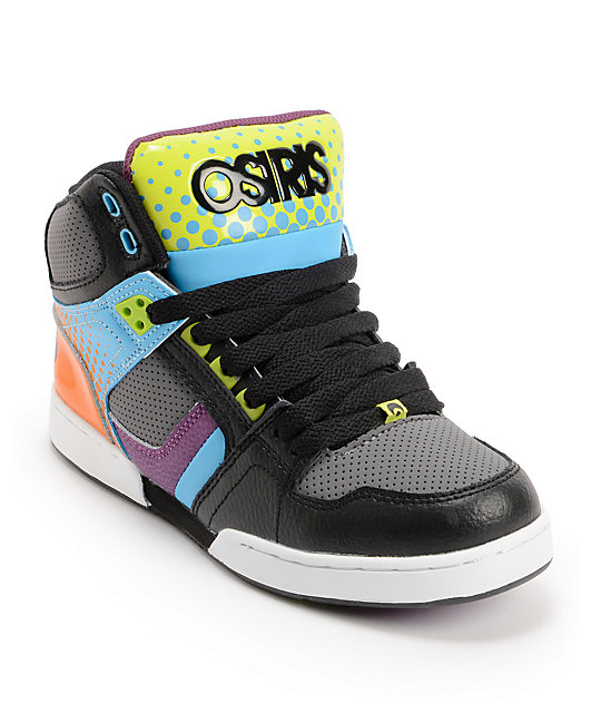 Osiris Kids NYC 83 Black & Neon Dot Fade Skate Shoes