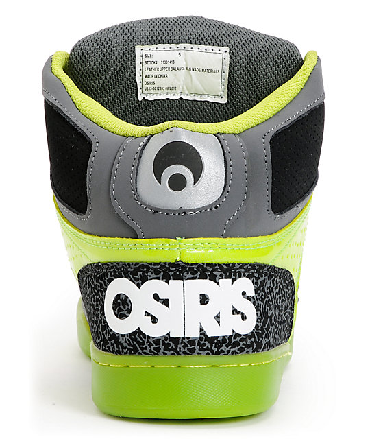 Osiris Kids NYC 83 Charcoal & Lime Green Skate Shoes