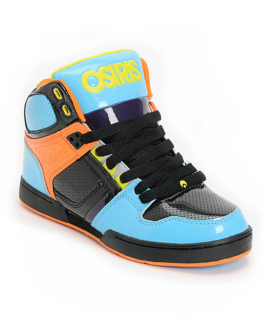 Osiris Kids NYC 83 Cyan, Black & Orange Skate Shoes