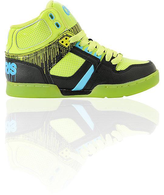 Osiris Kids NYC 83 Lime Drip, Black & Cyan Skate Shoe