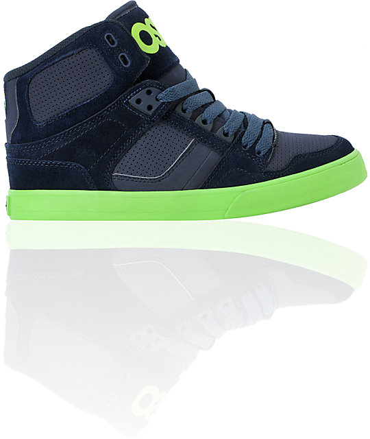 Osiris Kids NYC 83 Navy & Lime Skate Shoes