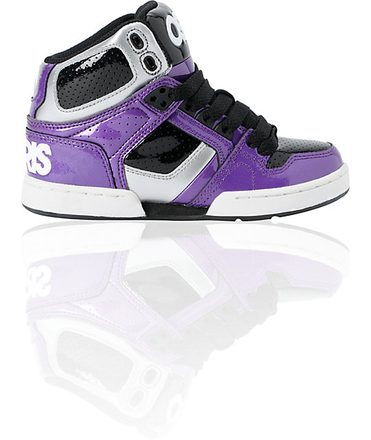 Osiris Kids NYC 83 Purple, Silver & Black Skate Shoes