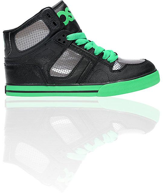 Osiris Kids NYC 83 VLC Black, Gunmetal & Green Shoes