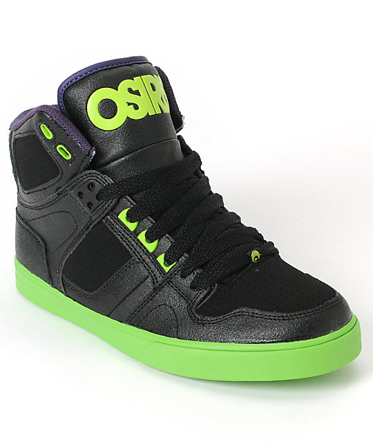 Osiris Kids NYC 83 Vulc Black, Lime & Purple Skate Shoe