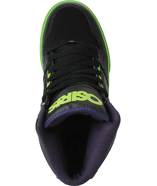 Osiris Kids NYC 83 Vulc Black, Lime & Purple Skate Shoes