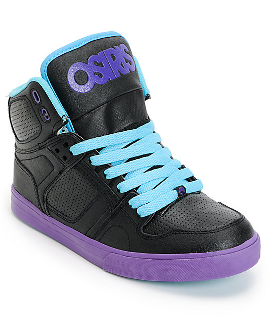Osiris Kids NYC 83 Vulc Black, Teal & Purple Skate Shoes