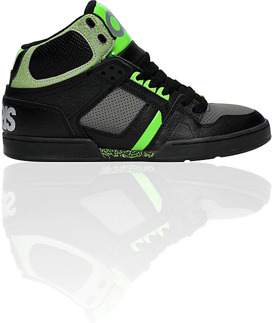 Osiris NYC 83 Black, Charcoal, & Green Shoes