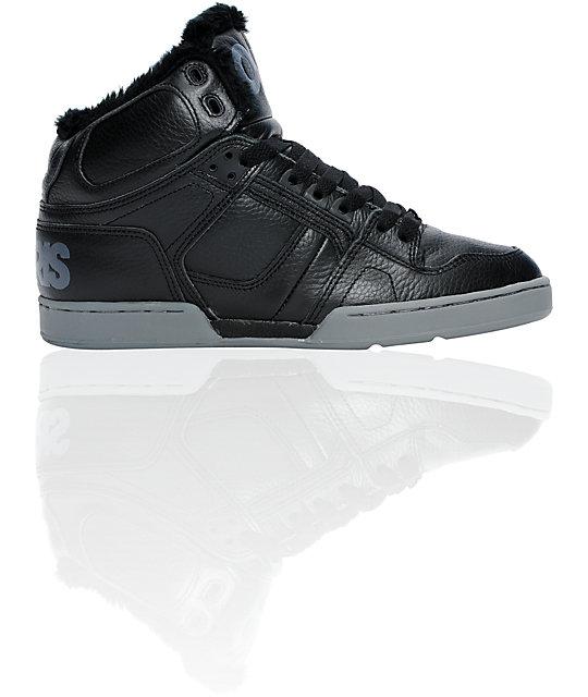 Osiris NYC 83 Black, Chrome & Sherpa Shoes