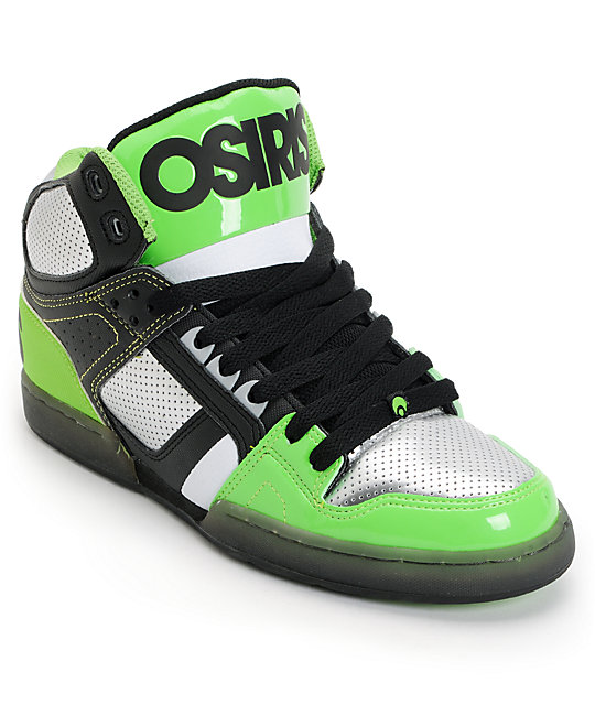 Osiris NYC 83 Black, Gunmetal & Lime High Top Skate Shoes