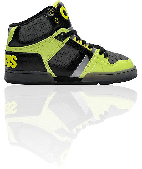 Osiris NYC 83 Black, Lime & Chrome Skate Shoes
