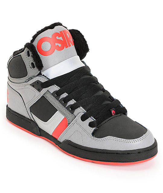 Osiris NYC 83 Charcoal, Red & Shearling Shoes