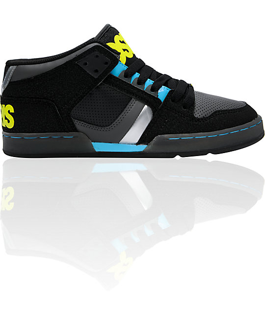 Osiris NYC 83 Mid Black, Cyan & Lime Skate Shoes
