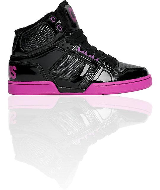 Osiris NYC 83 Mid Black & Fuschia Fur Lined Shoes