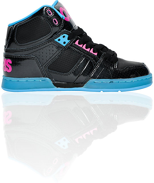 Osiris NYC 83 Slim Black, Cyan & Magenta Shoes