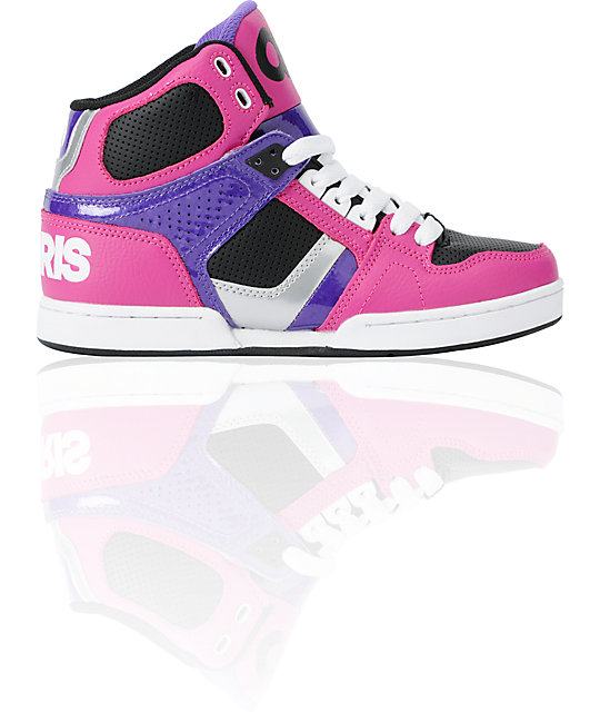 Osiris NYC 83 Slim Black, Fuchsia & Silver Shoes
