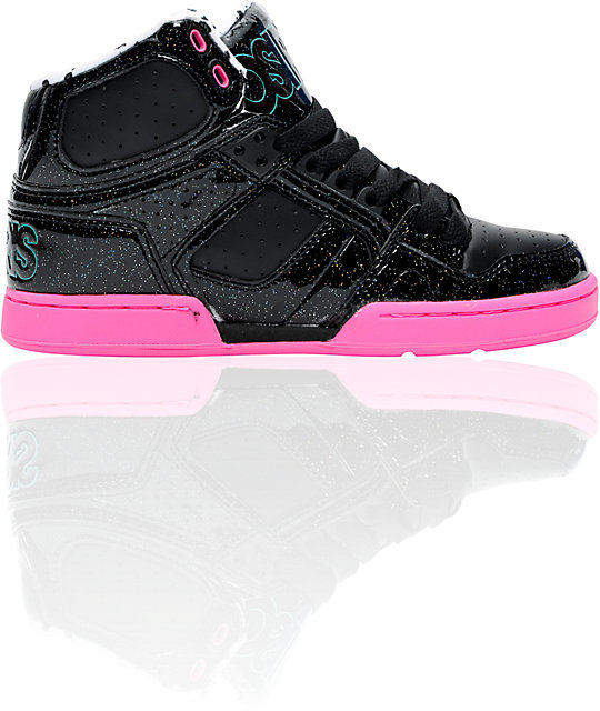 Osiris NYC 83 Slim Black, Pink, & Glitter Shoes