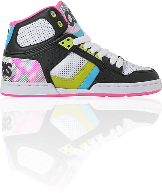 Osiris NYC 83 Slim Black, Pink & Hypertone Shoes